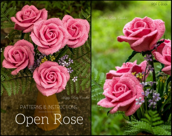Crochet Rose Pattern Crochet Flower Pattern For Bouquets And Etsy