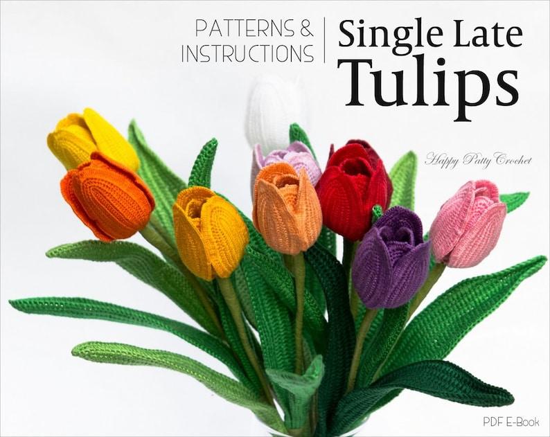 Crochet Tulip Pattern  Crochet Flower Pattern  Single Late image 0