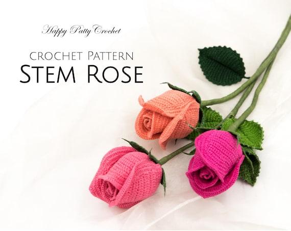 Crochet Rose Pattern Crochet Flower Pattern For A Stem Rose Etsy