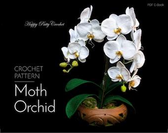 Crochet Orchid Pattern - Crochet Flower Pattern - Crochet Pattern for Home Decor & Flower Applique - Phal Orchid Flower Pattern