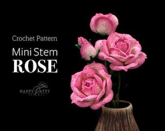 Mini Stem Rose Crochet Pattern - Crochet Flower Pattern for a Miniature Rose
