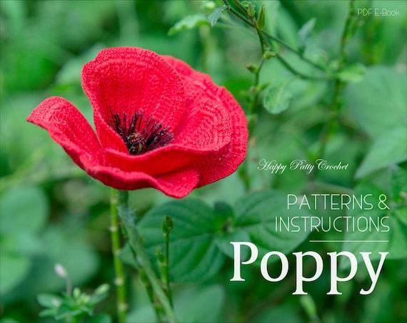 crochet poppy pattern crochet flower pattern poppy flower etsy