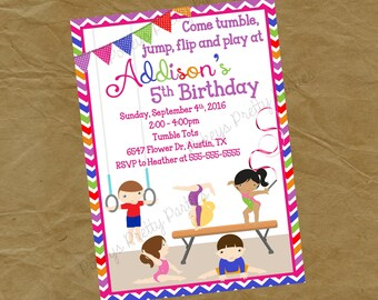 Gymnastics Birthday Party Invitation BOYS and GIRLS - Digital Personalized File to Print - Rainbow