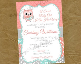 Owl baby shower invitation etsy owl baby shower invitation invite digital personalized file to print coral pink teal gray aqua filmwisefo