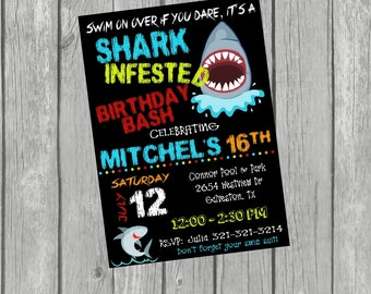 SHARK ATTACK Birthday Party Invitation - Pool or Beach Party -Digital or Printed