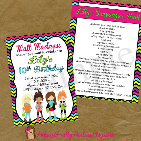 Mall Scavenger Hunt Birthday Party Invitation Invite Rainbow Etsy