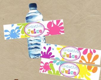 SALE - Creative Juice  Paint Art  Birthday Party Water Bottle Wraps