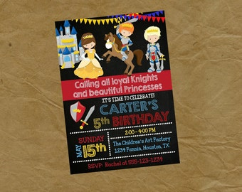 Brave KNIGHT and Princess Birthday Party Invitation - Digital Personalized File to Print