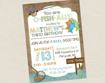 FISHING Birthday Party Invitation Invite -Digital Personalized File to Print