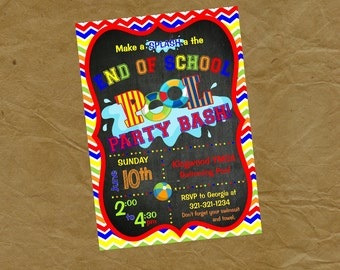 END OF SCHOOL Swimming Party Invitation  - Digital or Printed