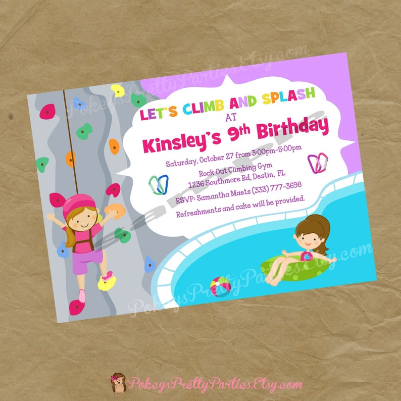 SWIM And Rock Wall Climbing Birthday Party Invitation Girls