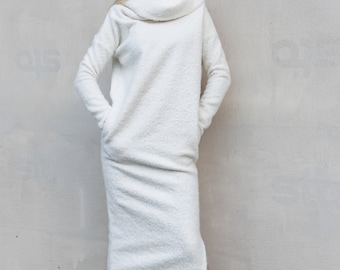 bcedd3e36521 NEW White Sweater Dress   Winter dress   White Maxi Dress   Plus Size Dress    Sweater Dress   Turtleneck Dress   Warm Dress    35306