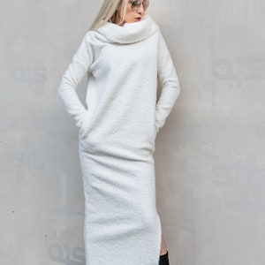 NEW White Sweater Dress  Midi dress  White Maxi Dress  Plus Size Dress  Sweater Dress  Turtleneck Dress  Warm Dress  #35318