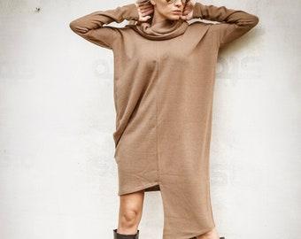 Winter Knit Asymmetric Dress / Oversized Dress /Asymmetric Tunic / Blouse Tunic / Loose Tunic / Plus Size Blouse / Sweater Dress  #35281