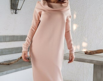 35da6086a65 Neoprene Maxi Dress   Maxi Dress   Winter Dress   Pockets Dress   Long  Sleeve Dress   Plus Size Dress   Oversized Clothing    35144