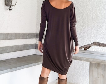 7cf257e12c467 Brown Asymmetric Dress - Blouse - Tunic   Plus Size Dress   Plus Size Tunic    Asymmetric Tunic   Oversize Dress   Plus Size Top  35049