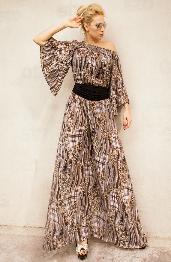 NEW Leopard Flounces Maxi Dress / Plus Size Dress / Spring Dress / Summer  Dress / Chiffon Dress / Plus Size Cloathing / Loose Dress / #35326