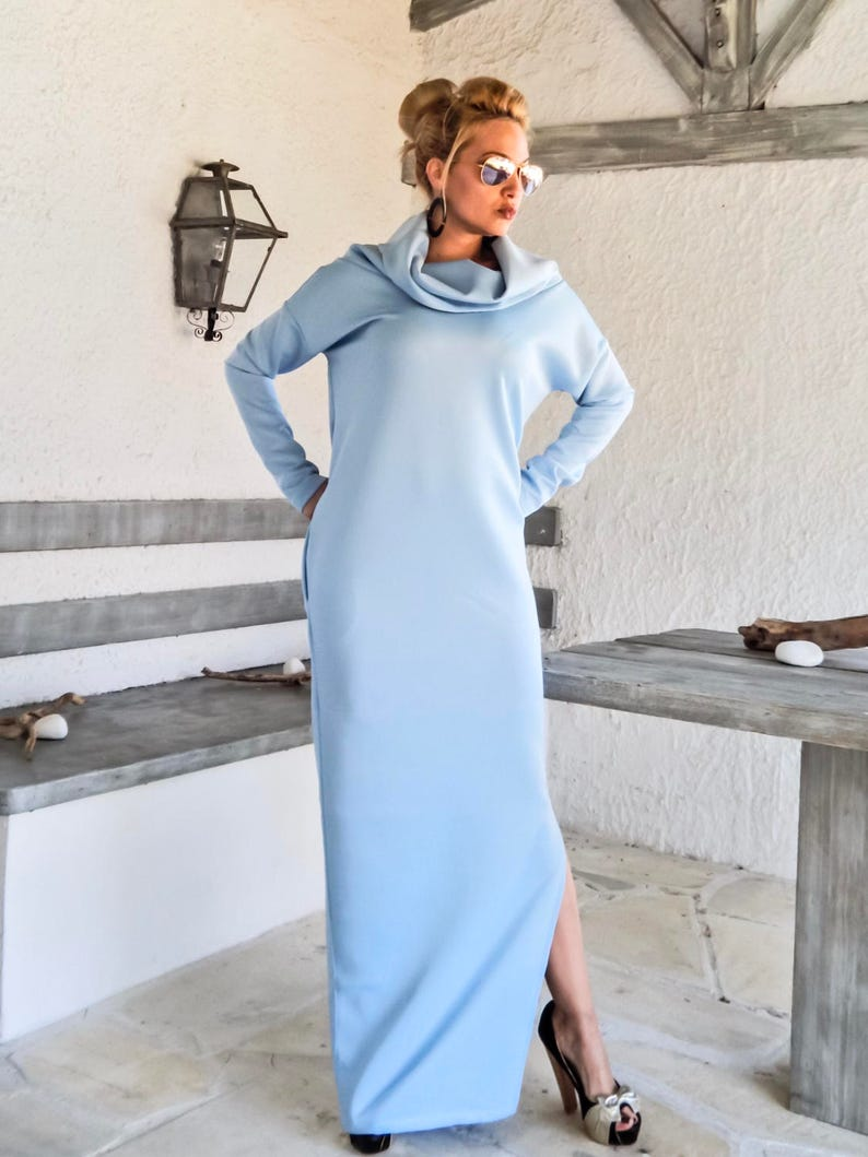 Neoprene Maxi Dress with Pockets / Baby Blue Maxi Dress / Plus Size Dress /  Neoprene Dress / Maternity Dress / Long Dress / #35192