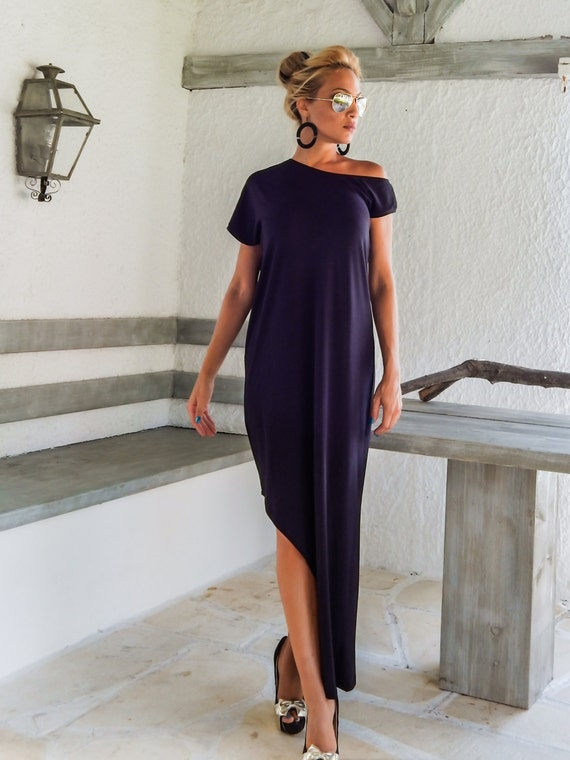 Black Maxi Dress with slit  Dress with Slit  Leg Cut Out Dress  Open Leg Dress  Black Kaftan  Asymmetric Dress  Plus Size Dress #35034