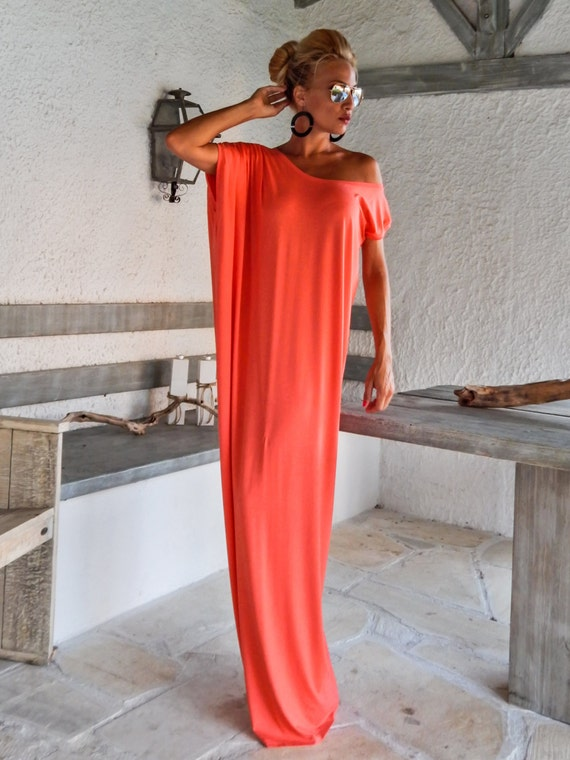 Coral Maxi Dress / Coral Kaftan / Plus Size Dress / Beach Dress / Summer  Dress / Beach Kaftan / Plus Size Maxi / Loose Dress / #35085