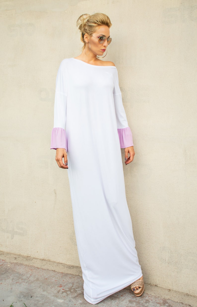 White Open Back Maxi Dress / Dress with Bows / Plus Size Maxi Dress / Bow  Dress / Open Back Dress / Long Dress / White Maxi Dress / #35330