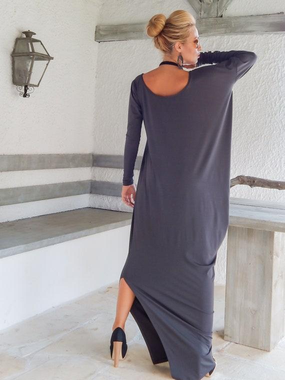 Maxi Kleid   grau Kaftan grau   Kaftan   Frauen Maxi Kleid     Etsy 200f337e28