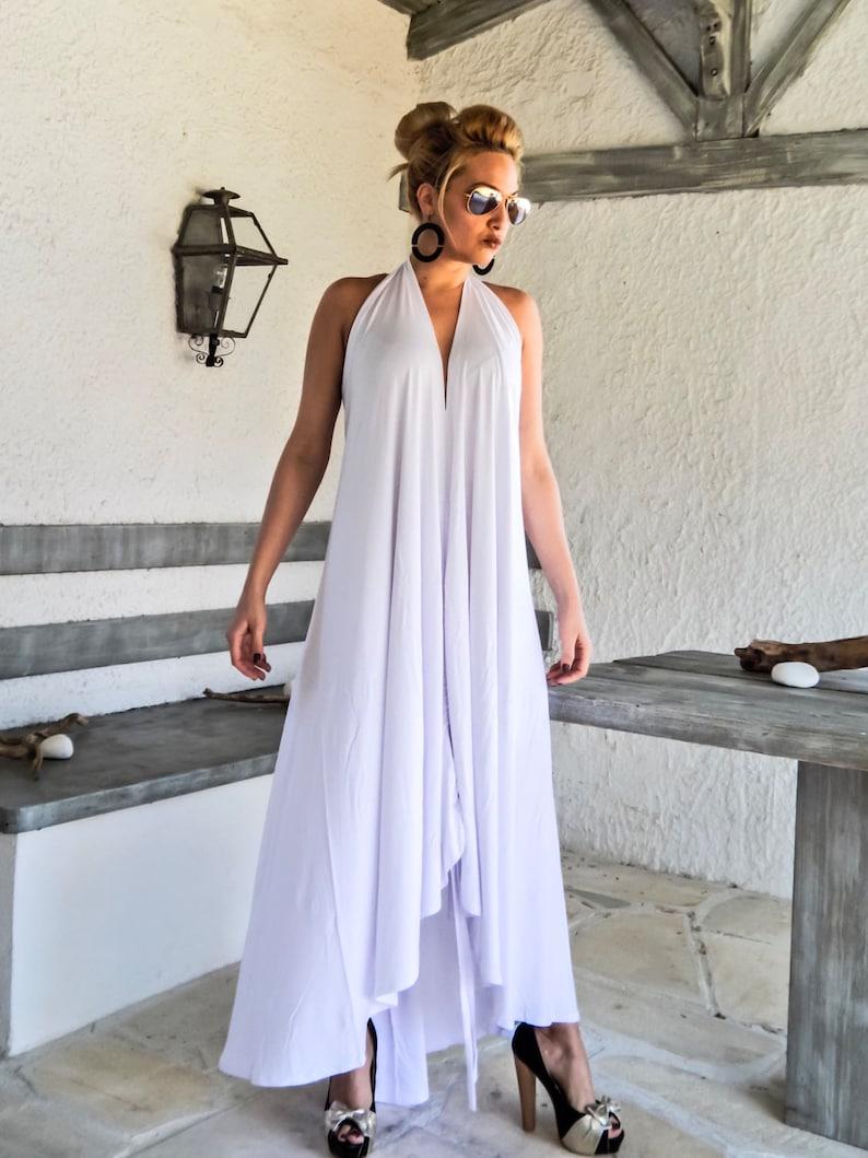 26c526a5e54 White Summer Maxi Dress   White Kaftan   Asymmetric Plus Size