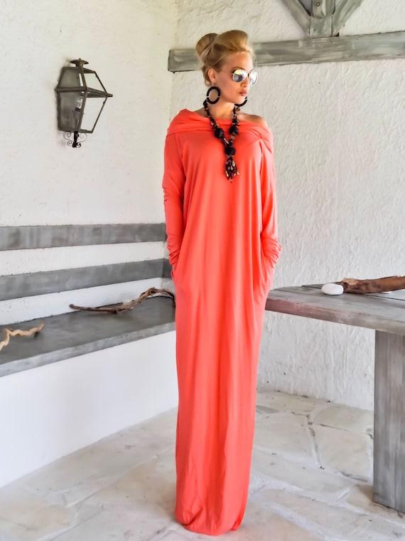 NEW Coral Maxi Dress Coral Dress Kaftan Long Sleeve Dress Turtleneck Plus Size Dress Dress with pockets Black Dress #35211
