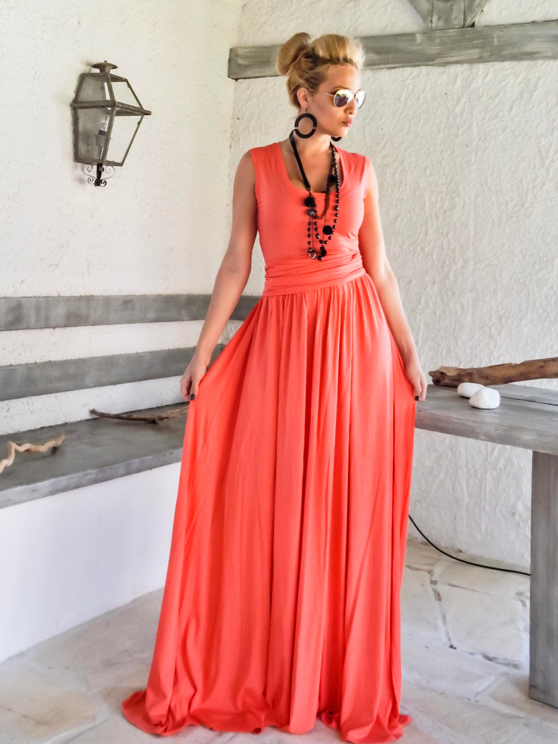 NEW.... Coral Maxi Dress / Dress with Belt / Plus Size Dress / Plus Size  Maxi / Evening Dress / Party Dress / Coral Evening Dress / #35237