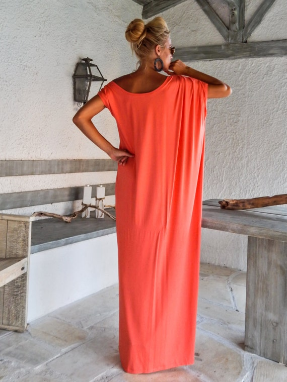 Maxi Dress Kaftan Coral Dress Summer Dress Plus Size Etsy