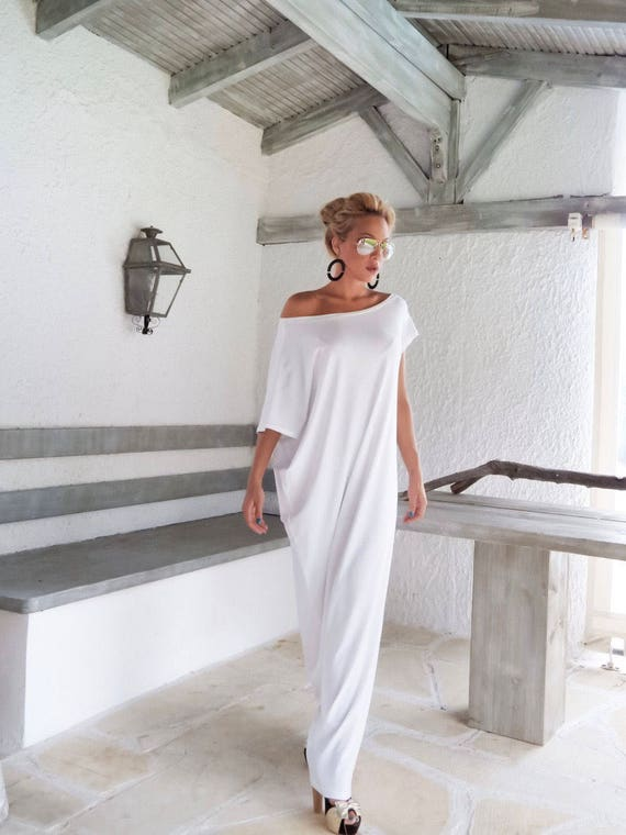 White Maxi Dress / Kaftan / Long White dress / Plus Size Dress / Caftan /  Women Dresses / Summer Dress / Plus Size Maxi Dress / #35022