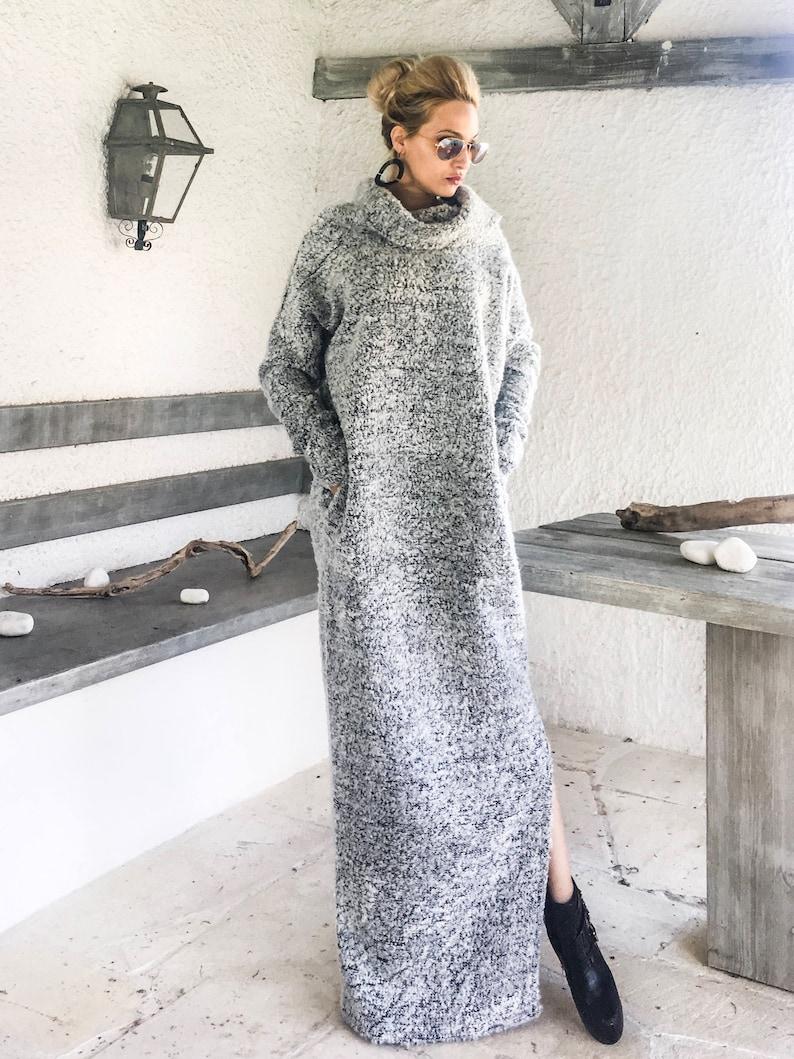 brand new 8c99c 55d57 Inverno lana Boucle dolcevita Maxi vestito / abito lungo caldo inverno /  Maxi abito con tasche / Dress Plus Size abito collo alto / #35252