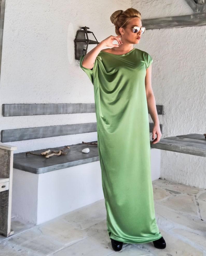 Legergroene Maxi Jurk.Asymmetric Light Green Maxi Dress Kaftan Abaya Plus Size Etsy