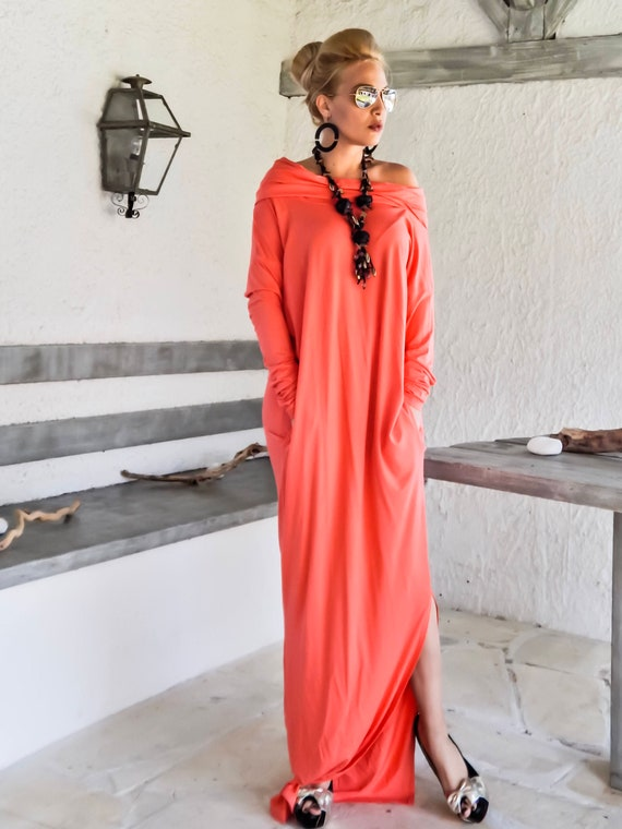 Coral Maxi Long Sleeve Dress with pockets / Coral Kaftan / Plus Size Dress  / Loose Dress / Plus Size Maxi / Turtleneck Dress #35211