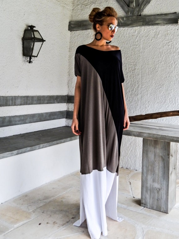 Black & Gray Maxi Dress / Plus Size Dress / Long Dress / Maxi Dress/ Kaftan  / Plus Size Dress / Caftan / Oversize Loose Dress / #35076