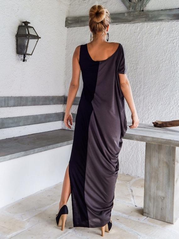 2700dcf2cd3 Black   Gray Maxi Dress   Black Gray Kaftan   Plus Size Dress
