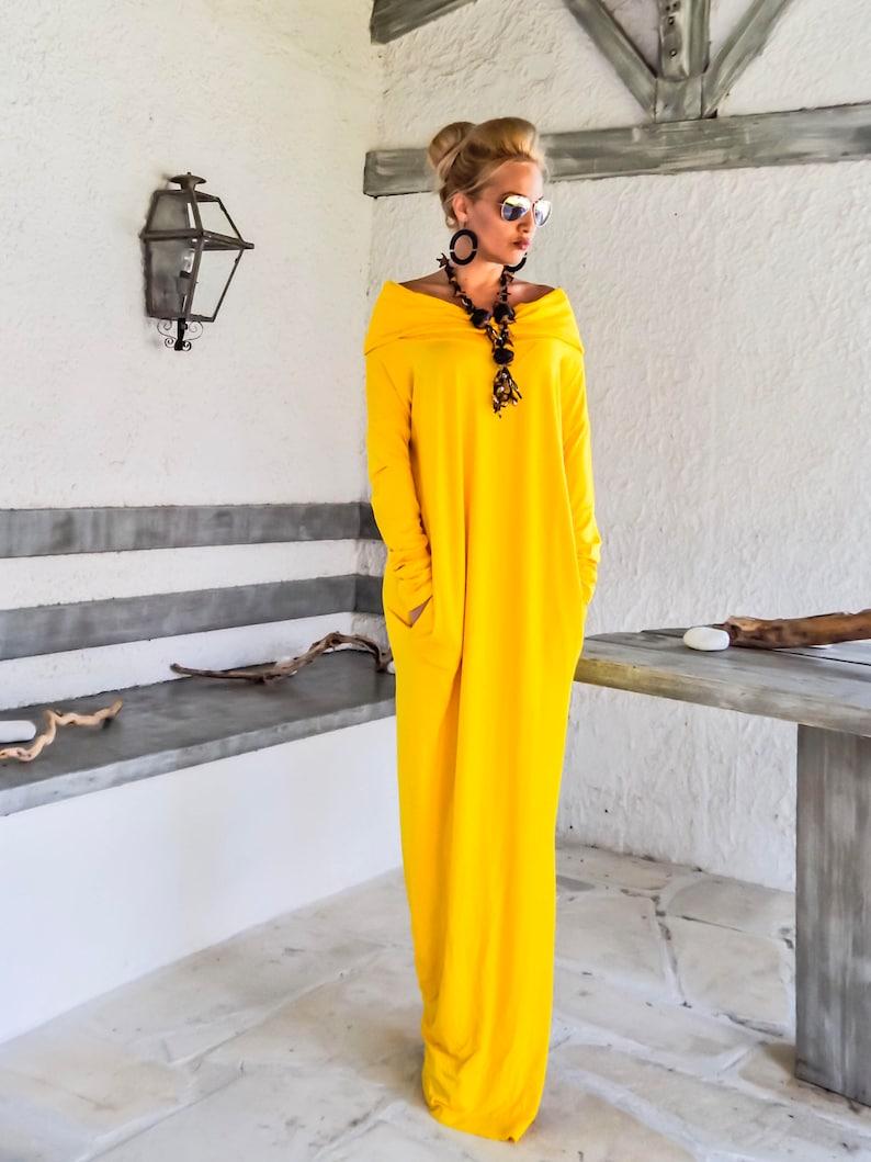 e4e28257a68 Yellow Maxi Long Sleeve Turtleneck Dress with pockets   Yellow