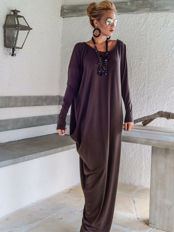 Brown Maxi Dress / Winter Dress / Maxi Dress/ Plus Size Dress / Brown Dress  / Asymmetric Dress / Day Dress / Casual Dress / #35050