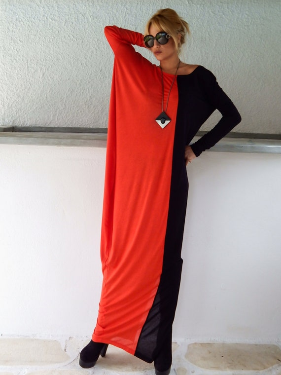 Black Red Maxi Dress Black Red Kaftan Long Sleeve Maxi Etsy