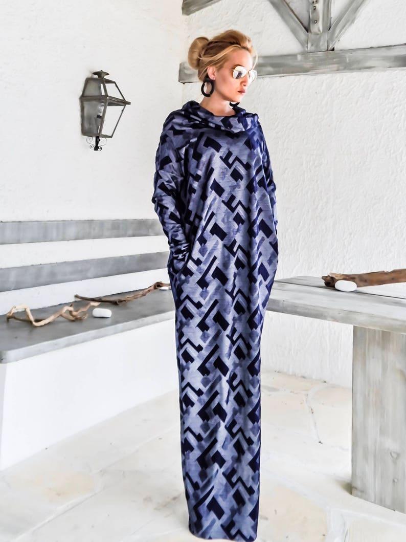 Asymmetric Print  Maxi Dress Kaftan  Abaya  Plus Size Dress  Oversize Loose Dress  #35180