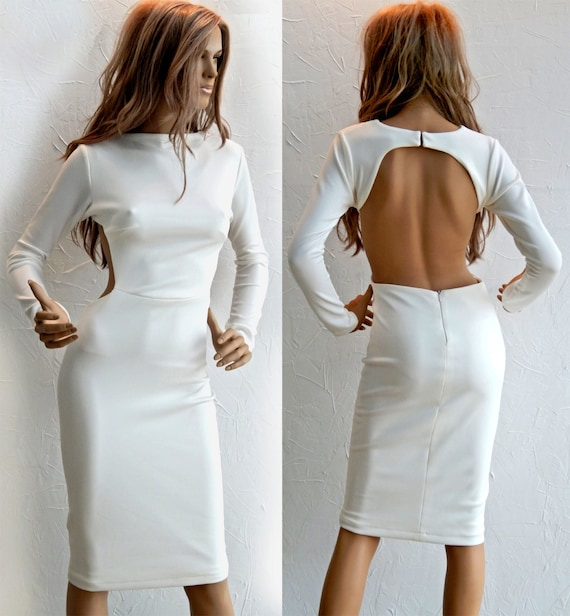 #95007 Open Back with cut-out details off-white midi dress