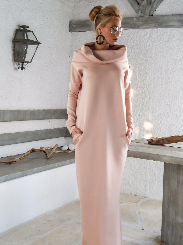 Neoprene Maxi Dress/ Plus Size Dress / Blush Pink Kaftan / | Etsy