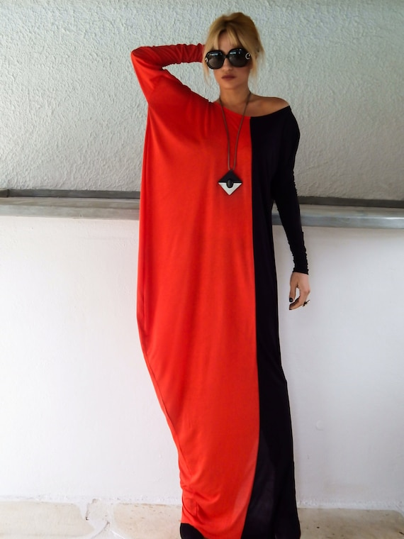 Winter Maxi Dress Black And Red Dress Plus Size Dress Etsy