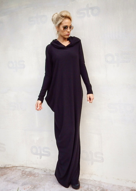 NEW Black Maxi Dress / Black Sweater dress / Plus Size Dress / Black Dress  / Plus Size Maxi Dress / Long Dress / Dress With sleeves / #35291