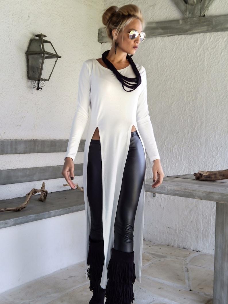 fd0baedf6738a Long Blouse with Slits   Women Tunic   Plus Size Tunic   Plus Size Top   Asymmetric  Top ...
