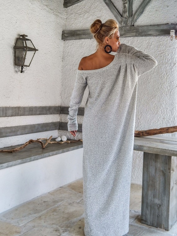 Off White Winter Wool Boucle Maxi Dress / Winter Warm Long Dress /  Asymmetric Plus Size Dress / Oversize Loose Dress / #35159