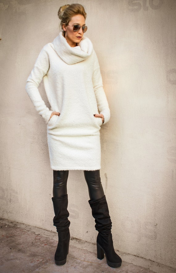 NEW White Sweater Dress / Midi dress / White Maxi Dress / Plus Size Dress /  Sweater Dress / Turtleneck Dress / Warm Dress / #35318
