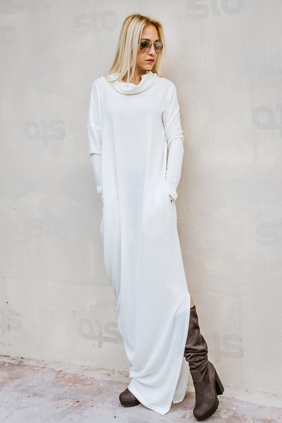 NEW Knit Maxi Dress / Sweater dress / Plus Size Dress / Turtleneck Dress /  Plus Size Maxi Dress / Long Dress / White Sweater / #35304