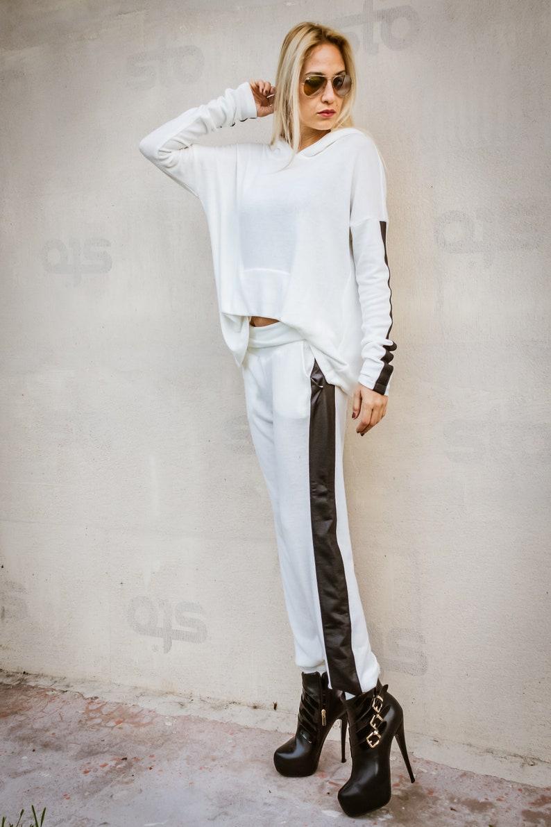 NEW Women Set  White Pants  Harem Pants  White Top  Plus Size Set  Plus Size Top  Plus Size Pants  Leather Strap Pants  #35303