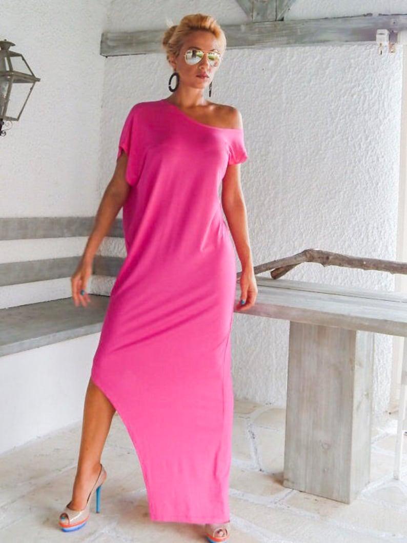 Maxi Dress / Summer Dress / Fuchsia Dress / Plus Size Dress / Asymmetric  Dress / Leg Cut out dress / Loose Dress / Pink Dress / #35007